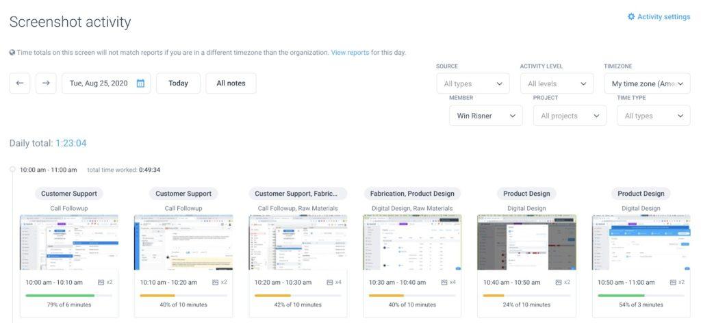 Hubstaff Screenshot Activity Page