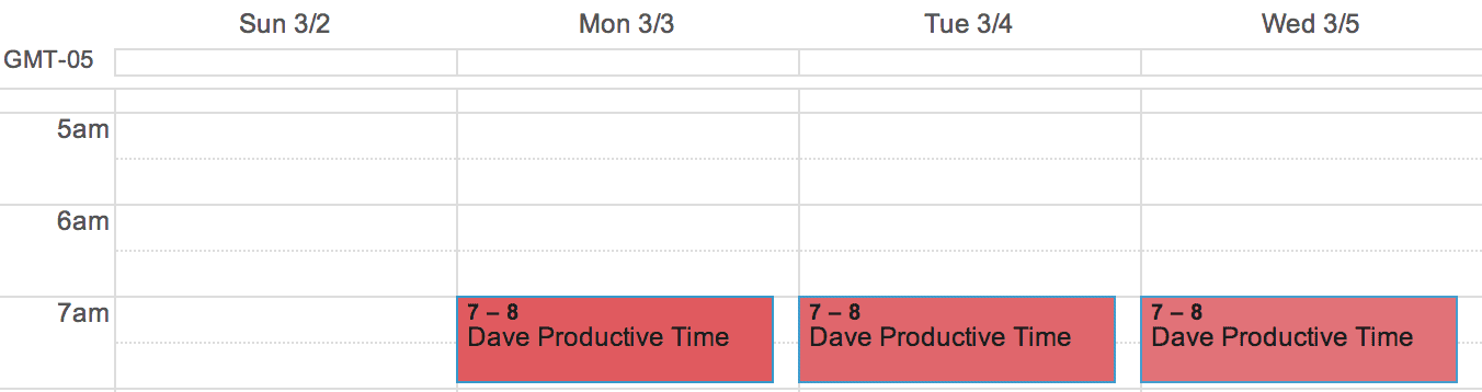 block off calendar for work time