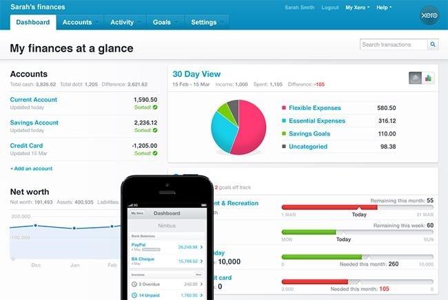 Xero cloud accounting dashboard