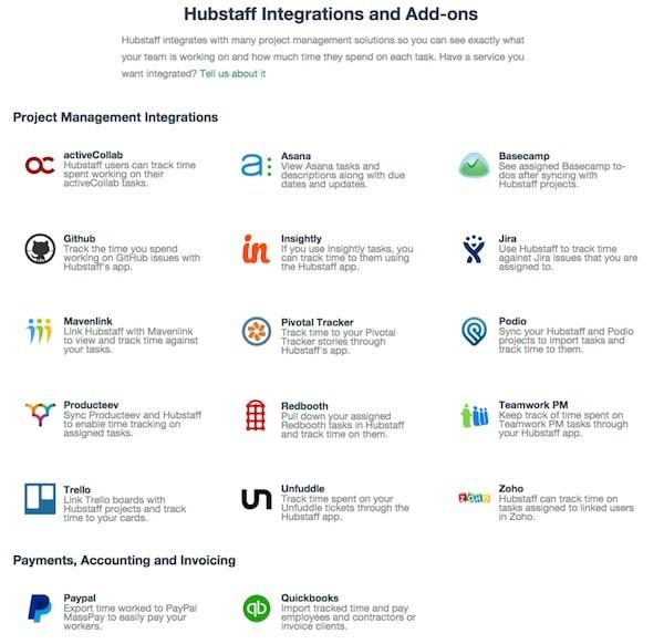 Hubstaff integrations