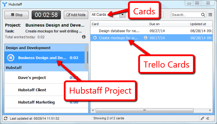 Hubstaff managed projects can use Trello Cards