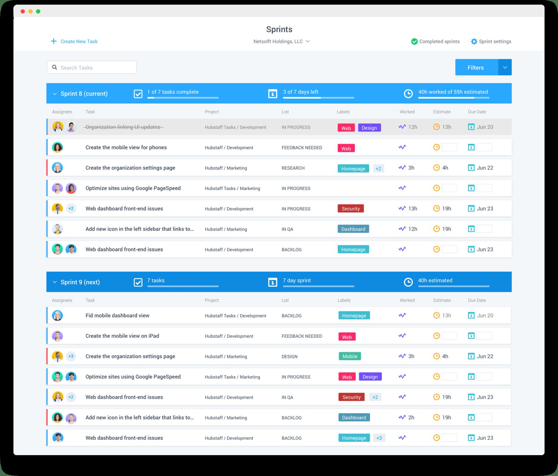 Hubstaff Tasks Sprints menu