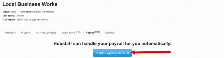 Add a payment account to Hubstaff