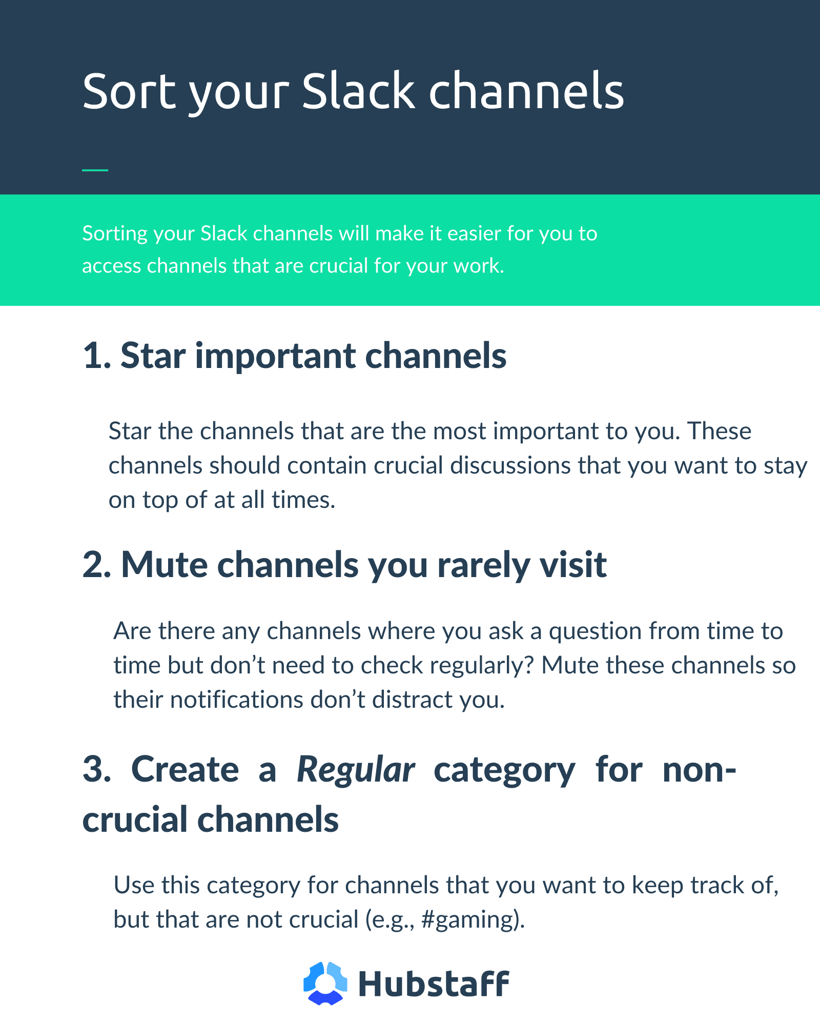 Slack channel sorting infographic