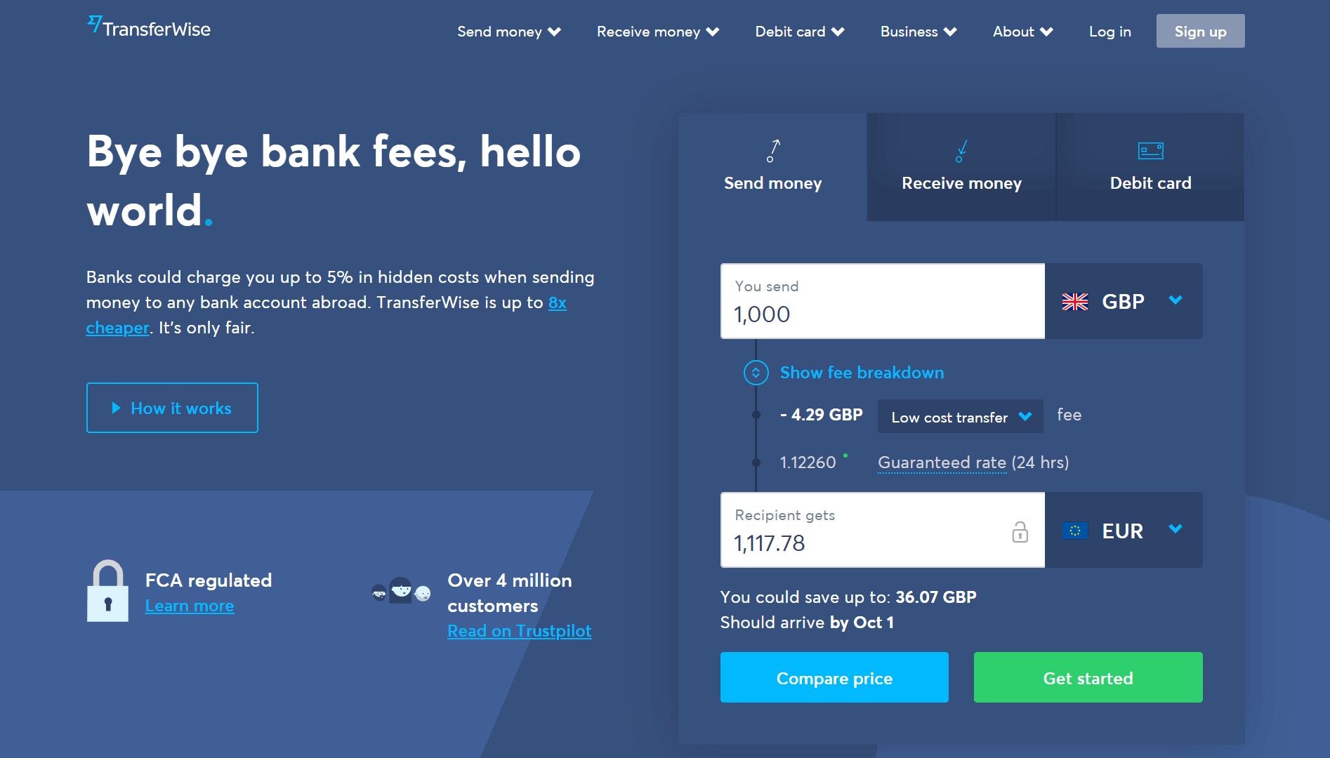 This Online Money Transfer Service Charges No Fees For Users Making Their First Afterward Transferwise 0 35 80 When
