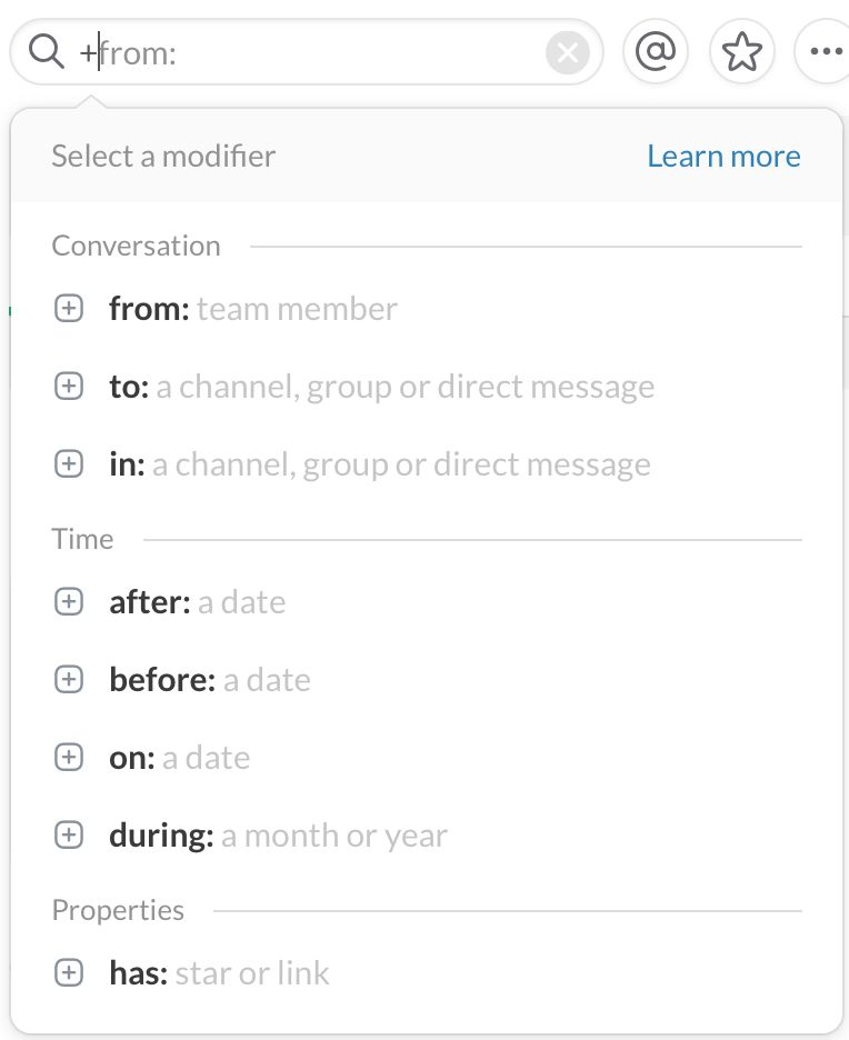 Slack search modifiers