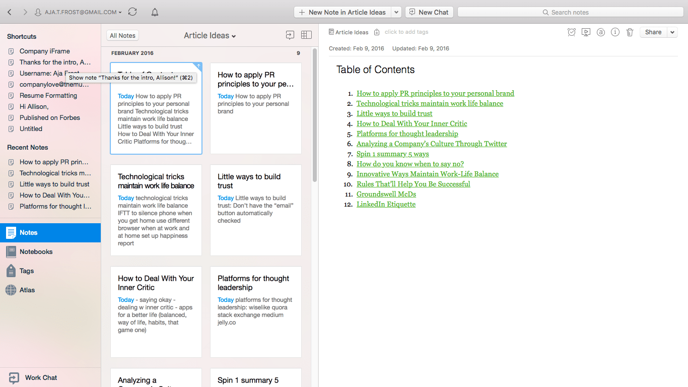 Evernote Table of Contents | How to Write More and Publish Better Content