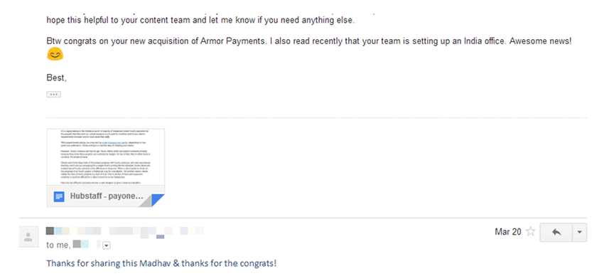 Email to Payoneer