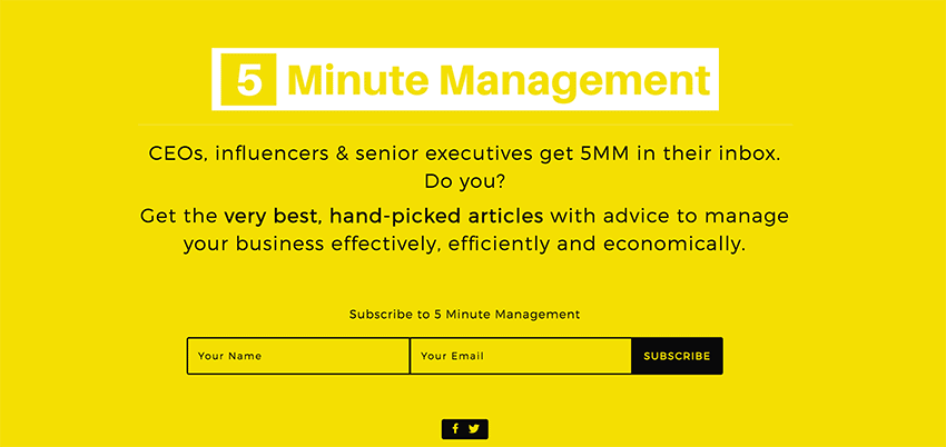 This is our 5 Minute Management newsletter