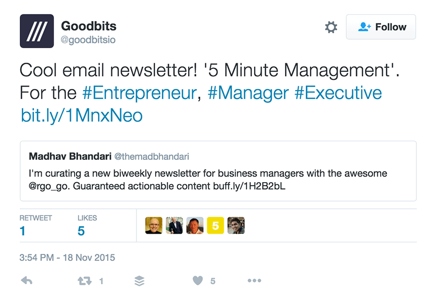 Tweet from Goodbits