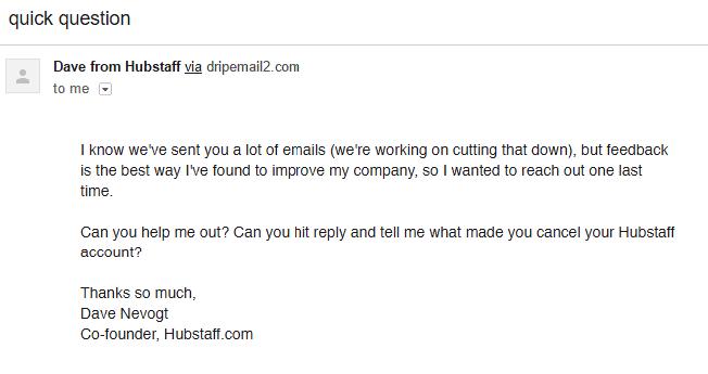 Hubstaff Feedback Email