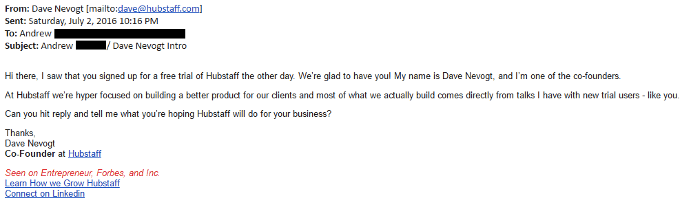 Hubstaff Welcome Email