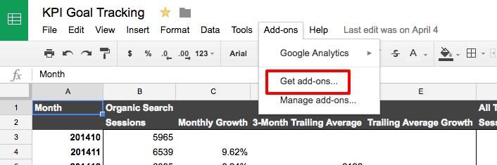 KPI Goal Tracking Google Sheets