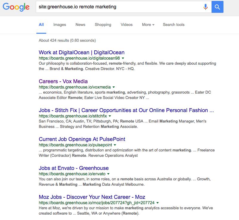 greenhouse.io job search