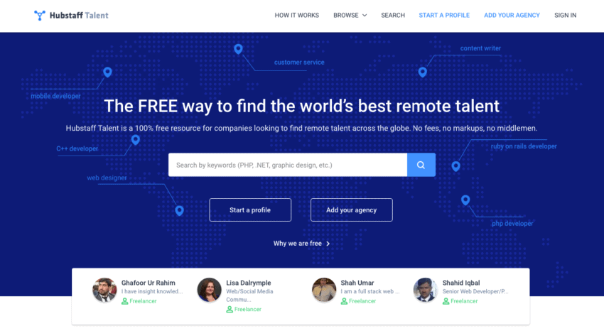 Hire Freelancers & Remote Workers For Free - Hubstaff Talent