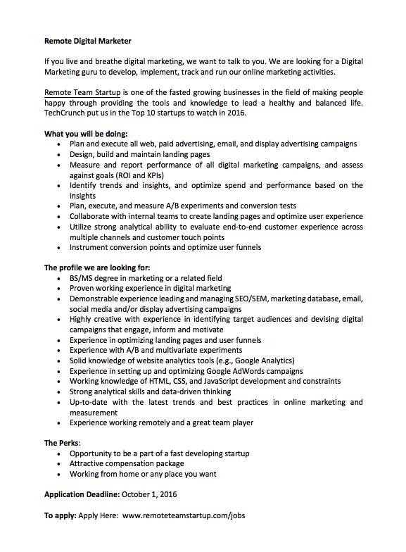 Remote Marketer Job Ad