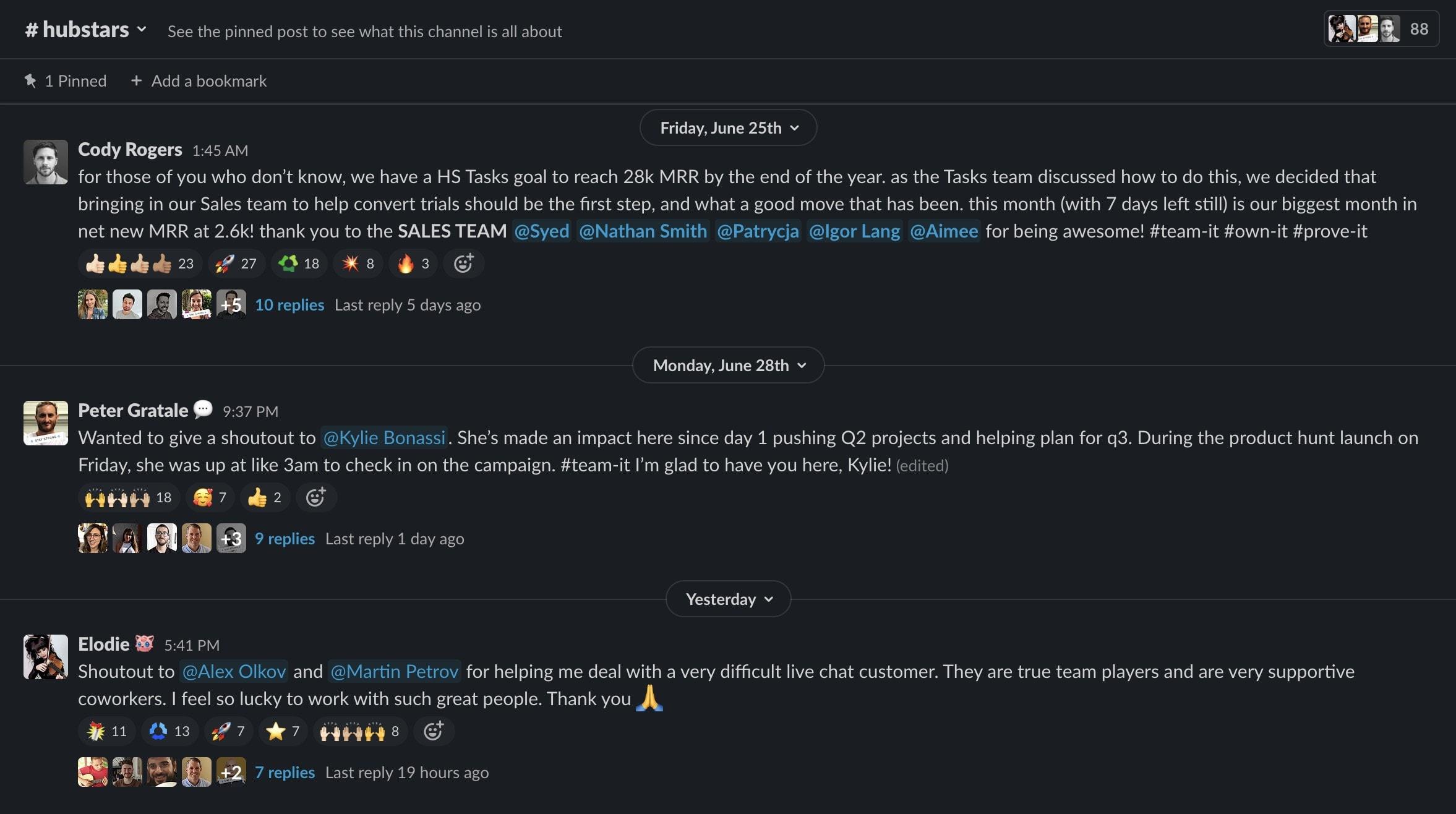 Hubstaff's #hubstars Slack channel
