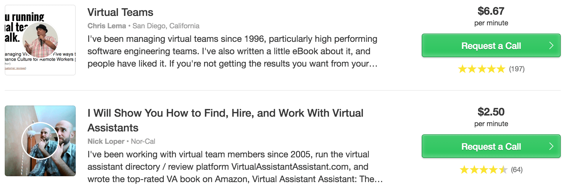 Search results in Clarity for experts specializing in productivity