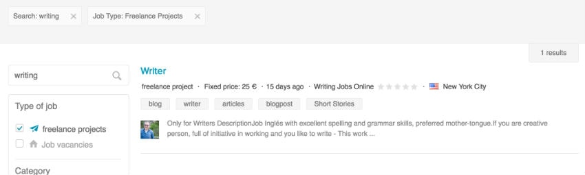Search results on Nubelo for companies looking for a freelance writer
