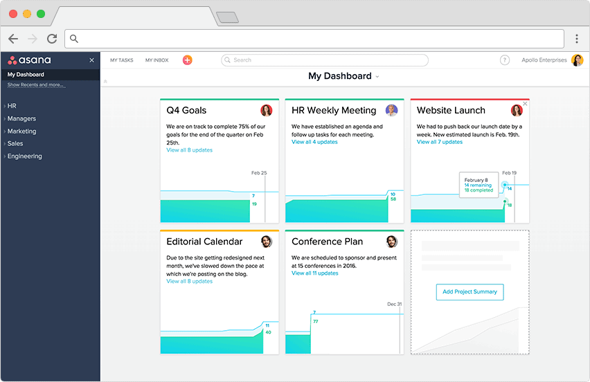Asana dashboard for projects