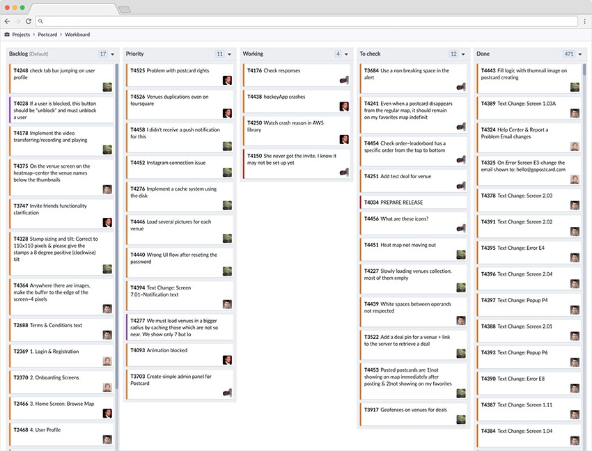 Screenshot of a task tracking board for post about making remote development work