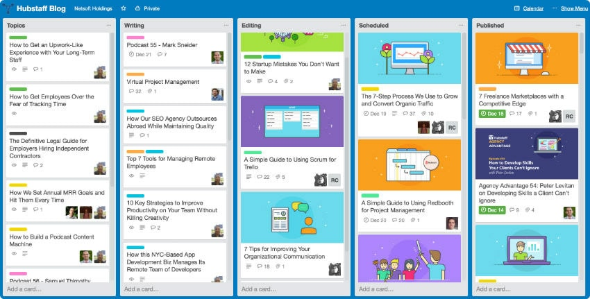 The Trello board we use for the Hubstaff Blog