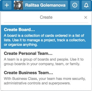 Screenshot of the Create Board option in Trello