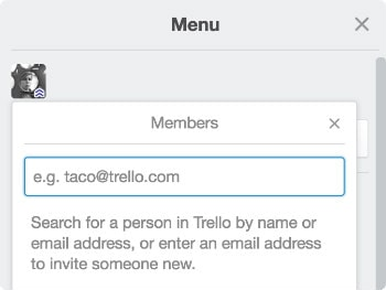 Screenshot of adding board members in Trello