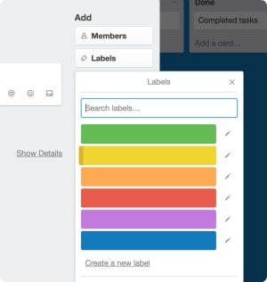 Screenshot of color labels in Trello