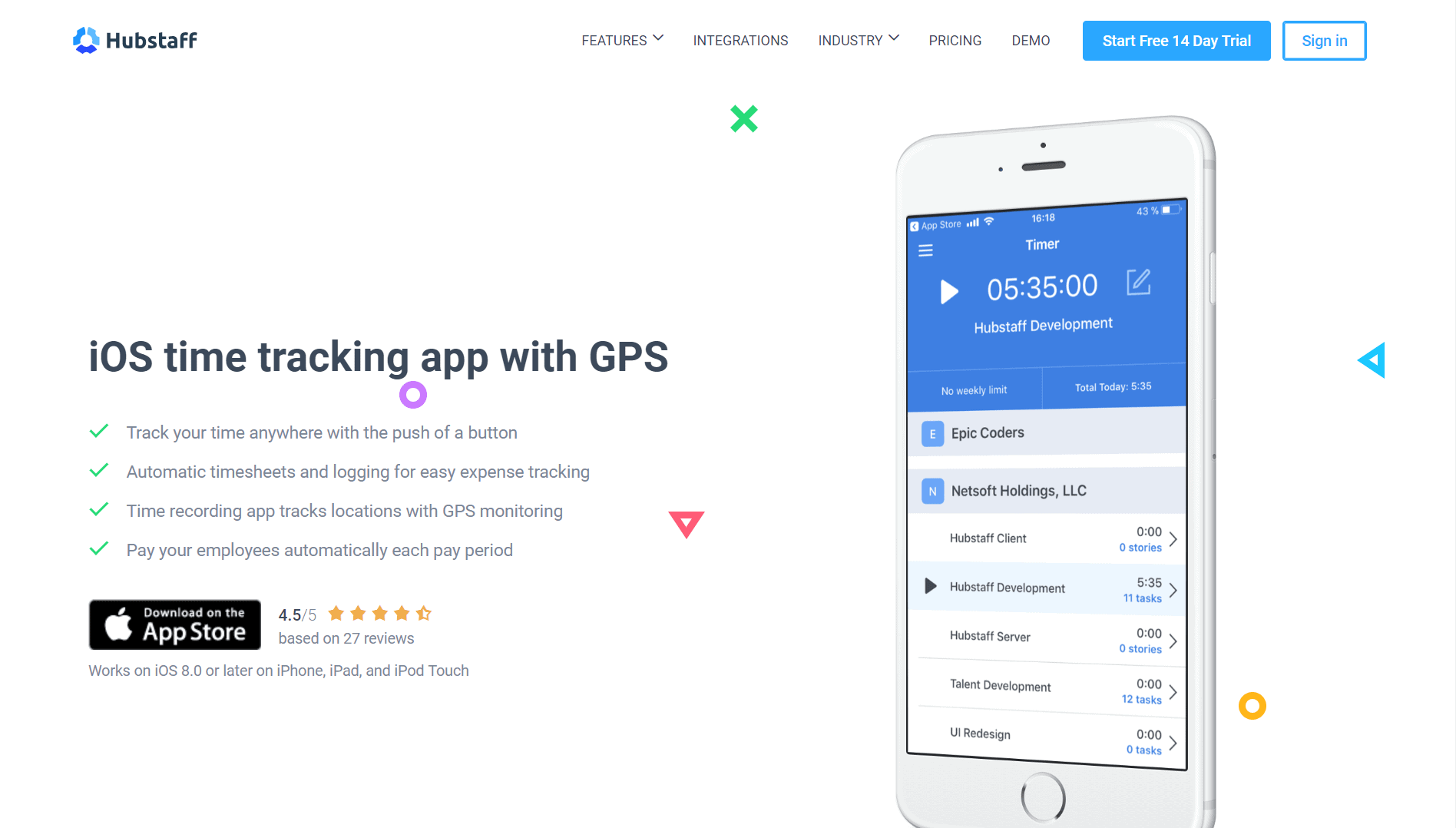 hubstaff field employee gps tracking app