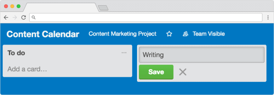 Trello project management: add lists to the content calendar