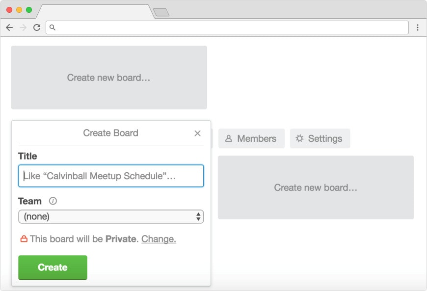 Creating a new board in Trello