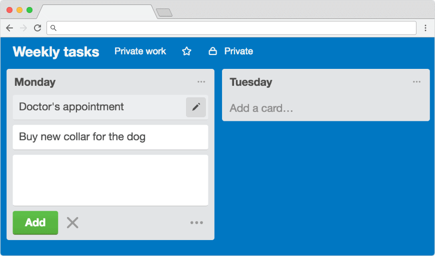 Personal cards in Trello