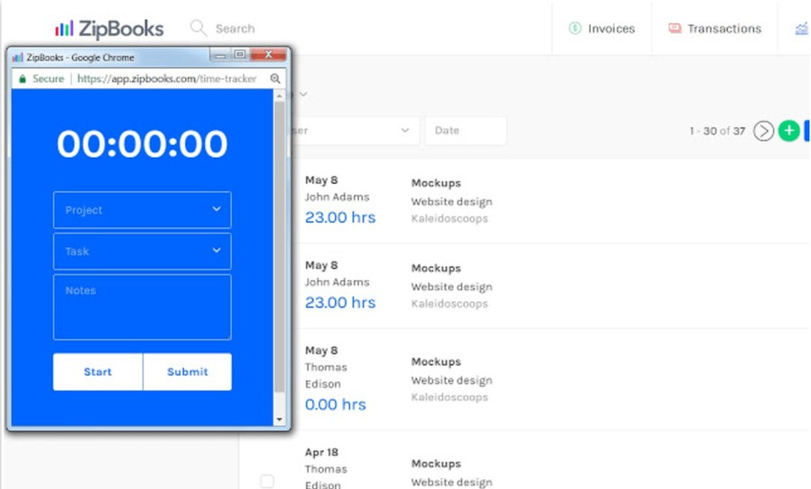 ZipBooks time tracking chrome extension