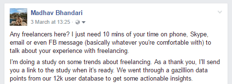 Request for freelancer interviews on Facebook