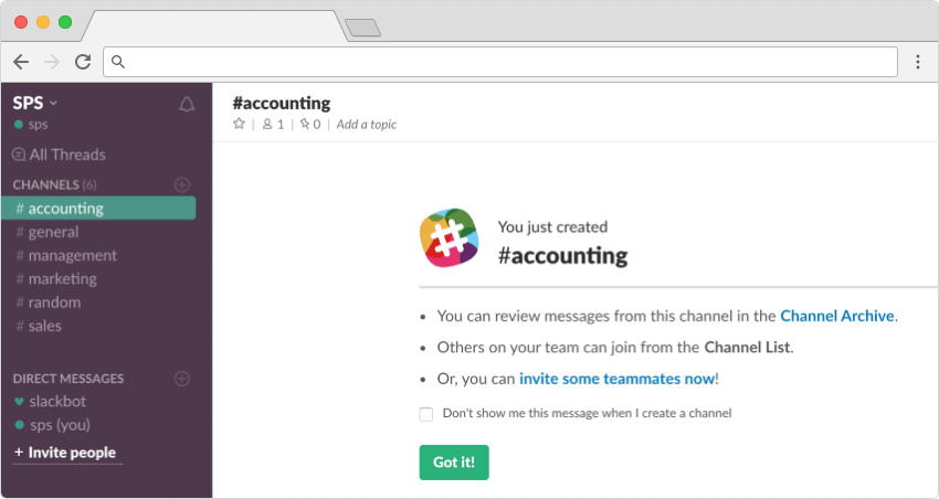 Creating project channels in Slack