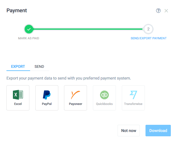 Hubstaff exporting payment data