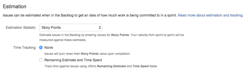 JIRA estimation statistics