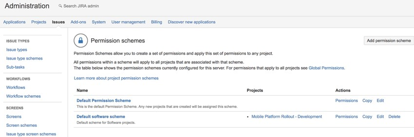 JIRA permission schemes