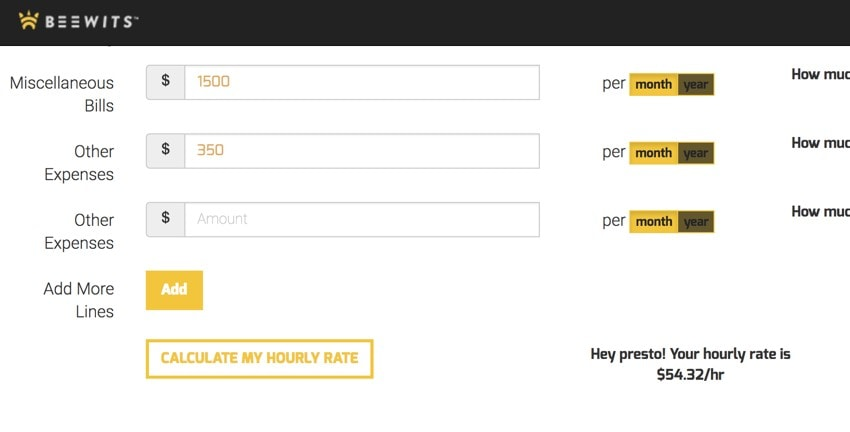 Calculate your freelance rate with Beewits' calculator