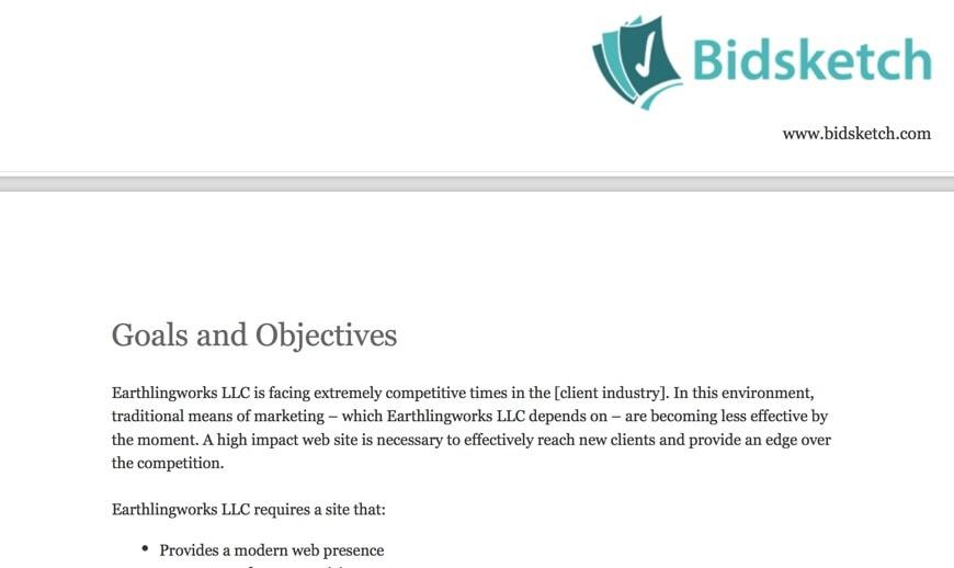 Creating a bid with Bidsketch