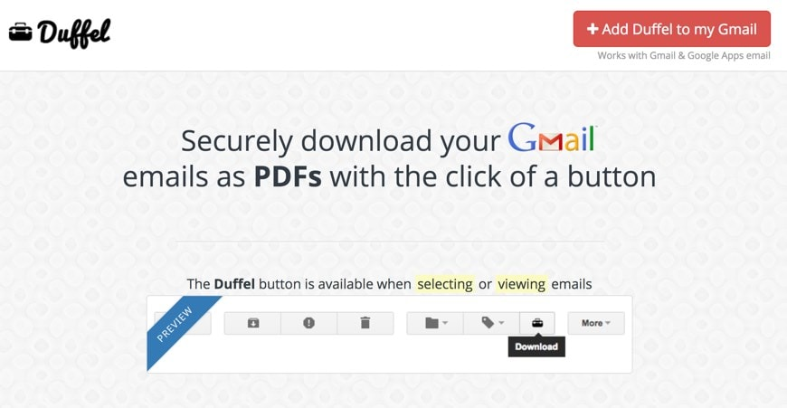 Downloading Gmail emails with Duffel