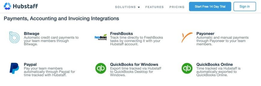 Hubstaff offers multiple integrations