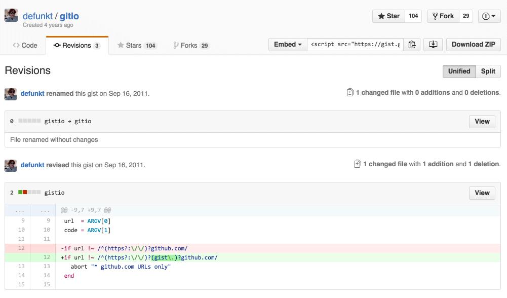 GitHub project history