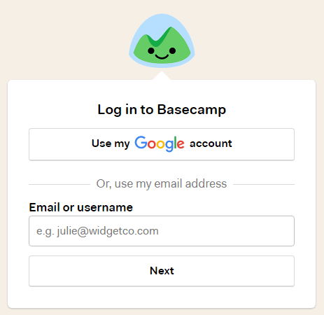 log in to basecamp