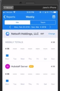 iphone screen showing how to view iOS reports in hubstaff