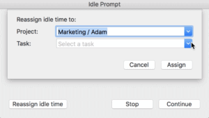screenshot showing how to reassign idle time in hubstaff