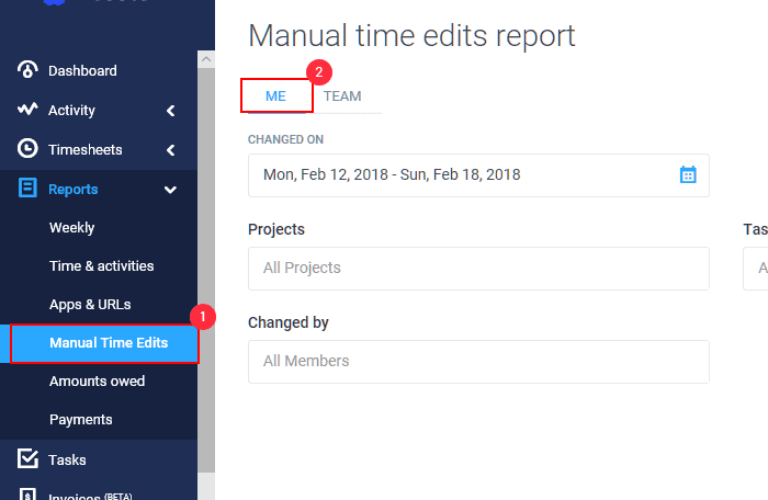 screenshot showing how to view and edit manual time entry in hubstaff