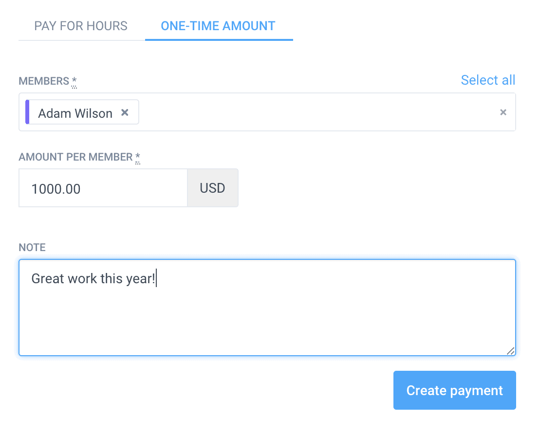 making one time payment in hubstaff