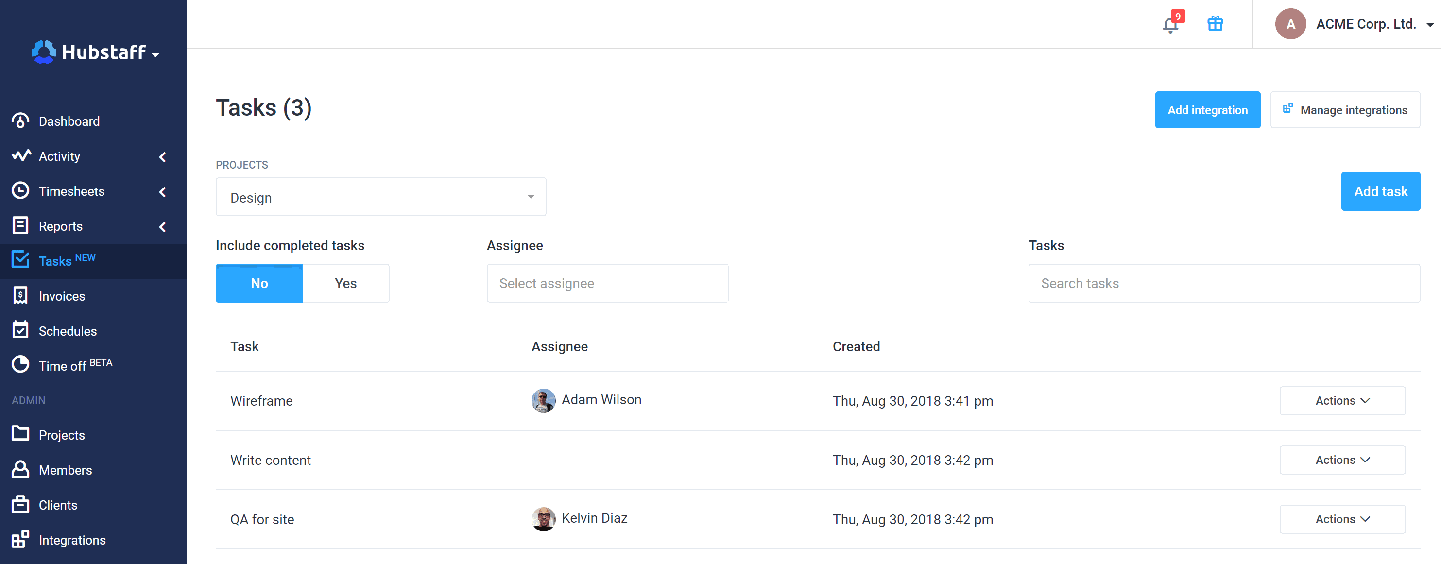 tasks page in hubstaff web app